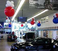 Ceiling bubble decoration for a car dealer sales event